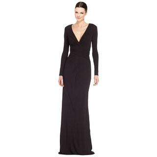 Badgley Mischka Draped Jersey Long Sleeve Evening Gown Dress