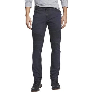 Rogue State Slim Fit Jeans 36 x 32 Dark Blue Colored With Leather Trim