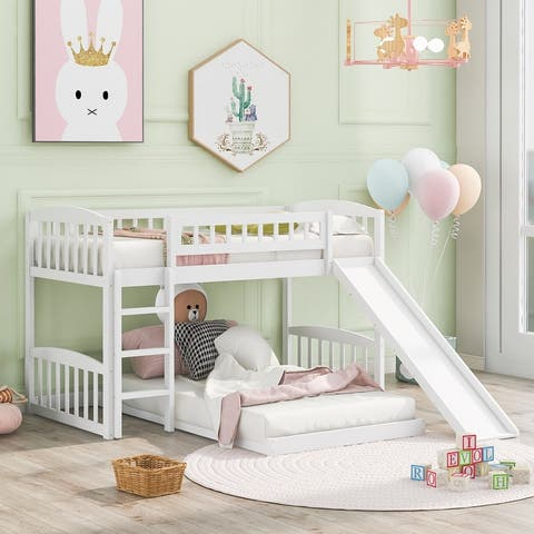 Kid's Twin Over Twin Bunk Bed with Slide and Ladder