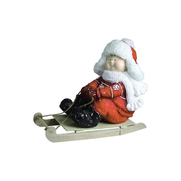 "16"" Christmas Morning Boy on a Sled Red and White Christmas Tabletop Figure"