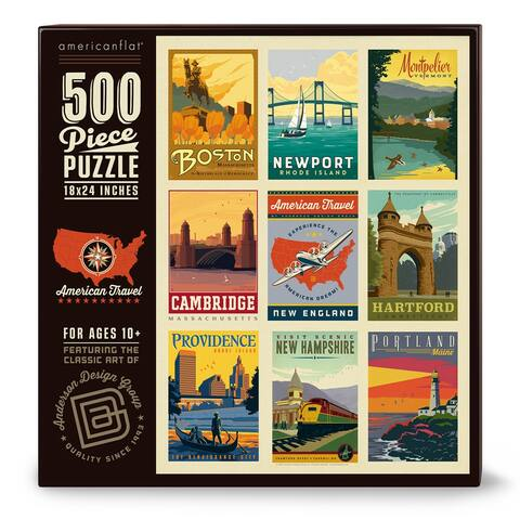Americanflat 500 Piece Jigsaw Puzzle, 18x24 Inches, American Travel New England Art by Anderson Design Group - 18 x 24
