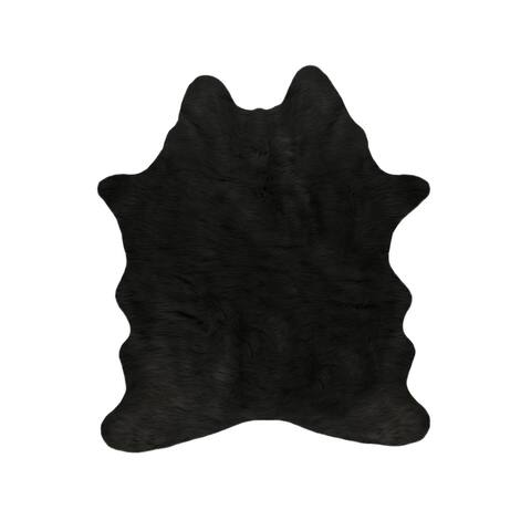 Faux Cowhide - BLACK - 5.25'x7.5'