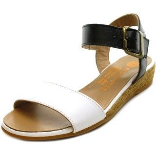 Eric Michael Amanda Women Open Toe Leather White Wedge Sandal