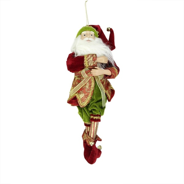 "18"" Enchanted Red, Gold and Green Poseable Whimsical Christmas Elf Figure - RED"