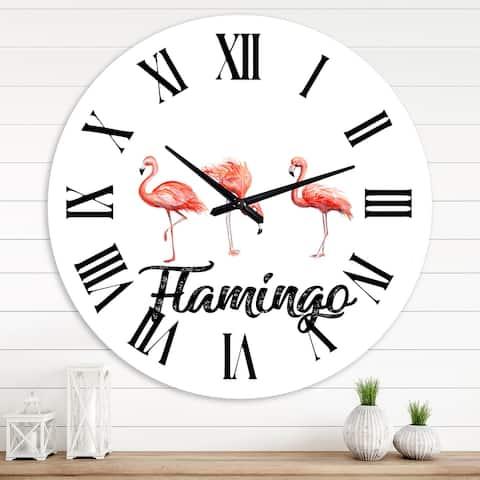 Designart 'Three Flamingos' Farmhouse wall clock