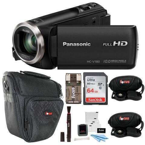 Panasonic HC-V180K Full HD 1080p Camcorder with 64GB Accessory Bundle