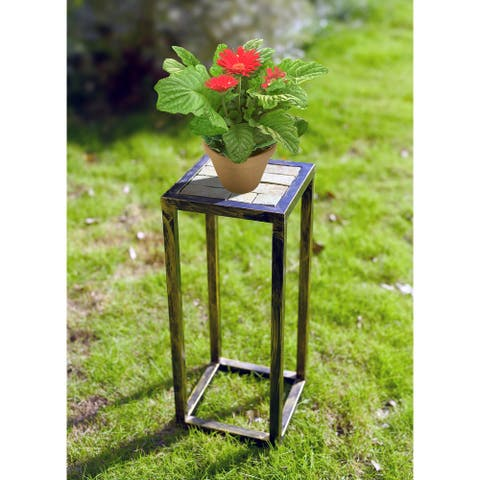 19.75 In. Grey Stone Slab Black/ Gold Plant Stand