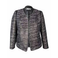 Kasper Women's Open Front Metallic Textured Blazer - fig multi