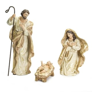 """Set of 3 White and Gold Holy Family Nativity Christmas Figures 18.5"""" - N/A"""
