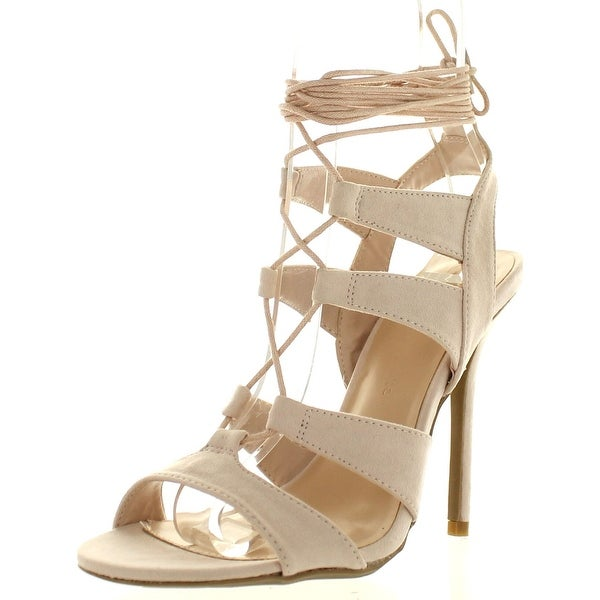 Wild Diva Women's Adele 236 Gladiator Lace Up Open Toe Strappy Ankle Wrap High Heel Pump - Nude