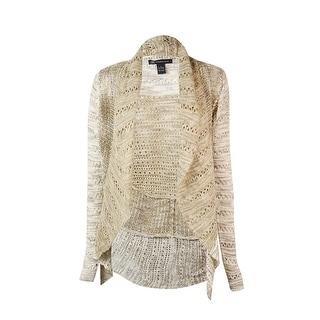 INC International Concepts Women's Textured Pointelle Cardigan - neutral marl
