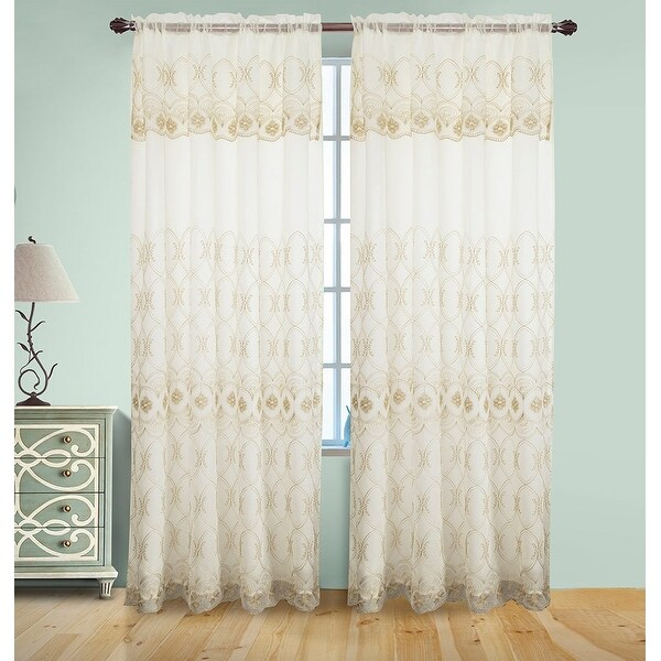 Josephine Embroidery Rod Pocket Panel With Attached Valence And Backing Beige Gold 55x90