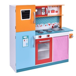 CostwayWood Kitchen Toy Kids Cooking Pretend Play Set Toddler Wooden Playset Gift New