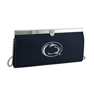 Embroidered Penn State Fabric Clutch Wallet w/Chain Strap - navy