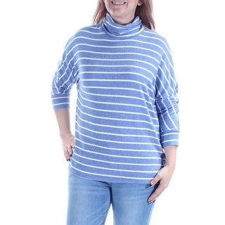 MAISON JULES $60 Womens New 1204 Blue Striped 3/4 Sleeve Turtle Neck Top L B+B