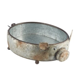 Galvanized Metal Pig Shaped Bowl - Potpourri Fruit Basket Home Decor - 11 in. x 11 in. x 5.5 in.