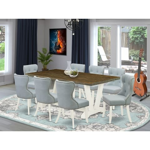 V077SI215-5 5-Piece Modern Dining Set- 4 Dining Chairs with Baby Blue Linen Fabric Seat and Button Tufted Chair Back