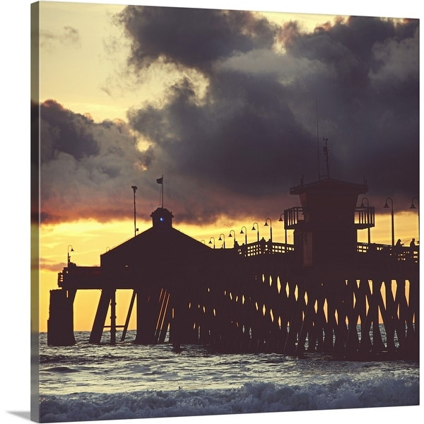 """""""Imperial beach fishing pier under stormy sky"""" Canvas Wall Art"""