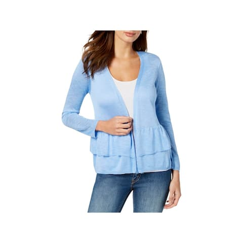 NY Collection Womens Petites Cardigan Sweater Knit Open Front