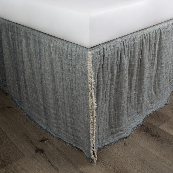 Kenton Peacock Natural Linen Reversible 3 Piece Bed Skirt. Opens flyout.
