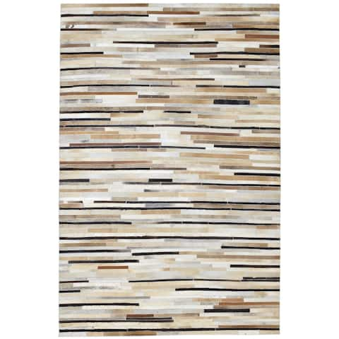 """One of a Kind Hand-Woven Modern & Contemporary 5' x 8' Stripe Leather Brown Rug - 5'2""""x7'10"""""""