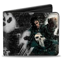 Marvel Universe The Punisher Shooting Pose Skulls Black Grays Bi Fold Wallet - One Size Fits most