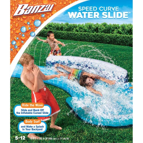 Banzai Speed Curve Inflatable Water Slide - Orange