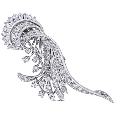 Miadora Platinum 4 3/4ct TDW Diamond Peacock Brooch Pin