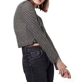 TopShop White Women's Crop Striped Crewneck Knit Top