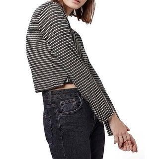 TopShop NEW Black White Womens Size 4 Crop Striped Crewneck Knit Top