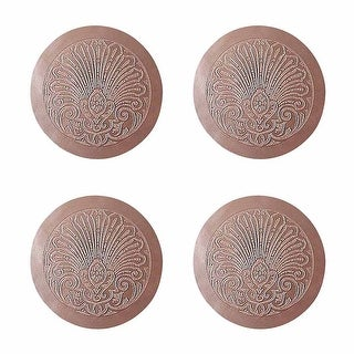 4 Chair Seats Tan Leather Round 12 Dia Embossed Set of 4 Renovator's Supply