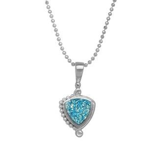 Sajen Paraiba Druzy Pendant in Sterling Silver Plate - Blue