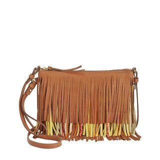 Sam Edelman Claudia Womens Fringe Crossbody Wristlet Handbag Saddle Brown