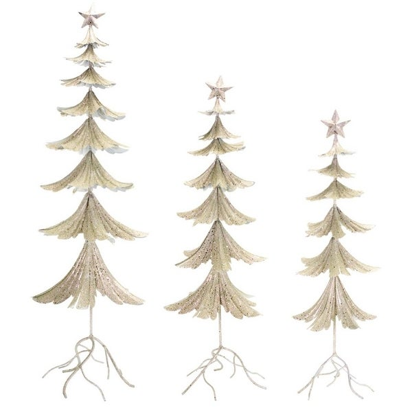 """Set of 3 Silver Glittered Christmas Trees with a Star 40"""""""