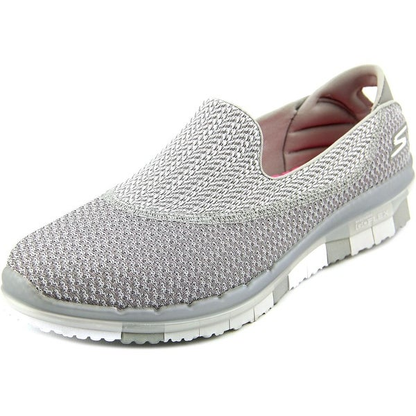 Skechers Go Flex-Extend Women Round Toe Canvas Gray Walking Shoe