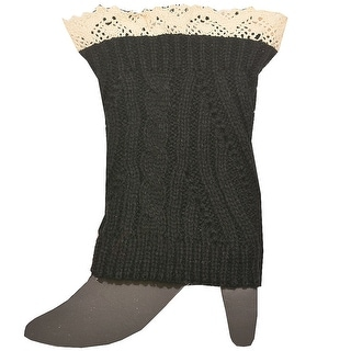 Fashion Knitting Women Black Ivory Crochet Trim Detail Knit Leg Warmers