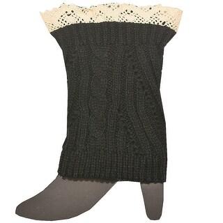 Fashion Knitting Women Black Ivory Crochet Trim Detail Knit Leg Warmers