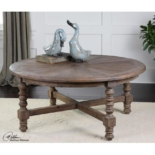 """42"""" Sunburst Eco-Friendly Distressed Recycled Fir Circular Wooden Coffee Table"""