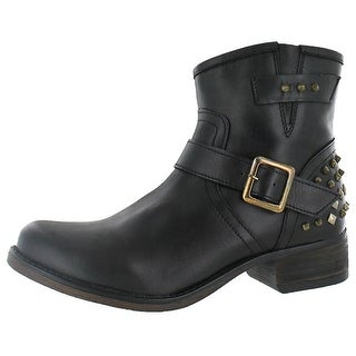 Steve Madden Womens TUF Leather Almond Toe Ankle Fashion Boots