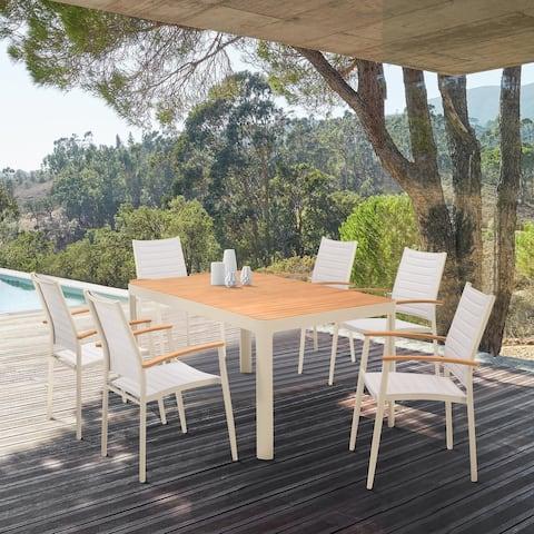 Portals Outdoor 7 Piece Aluminum & Teak Wood Dining Set