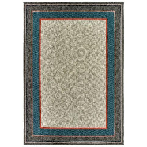 Higgins Bordered Grey/ Blue Indoor/ Outdoor Area Rug by Havenside Home