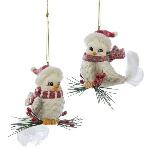 "2.75"" White Bird on Pine Branch with Red Berries Christmas Ornament"