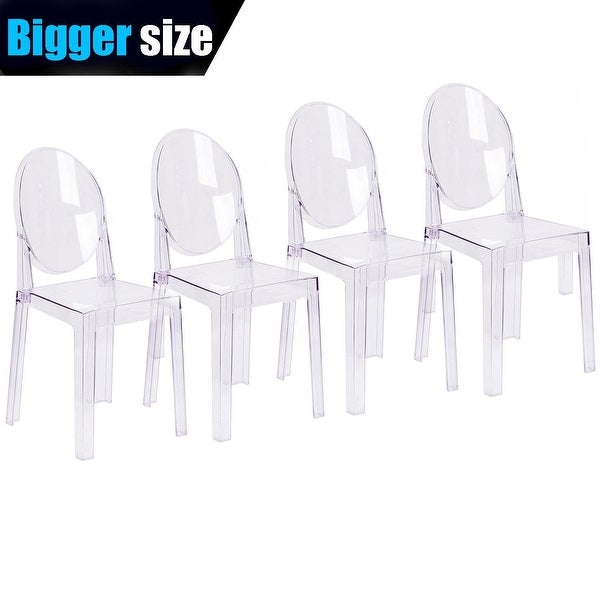 2xhome Set of 4 LARGER Clear Plastic Dining Chairs Designer Side Armless Retro Set For Living Room Kitchen Transparent Crystal