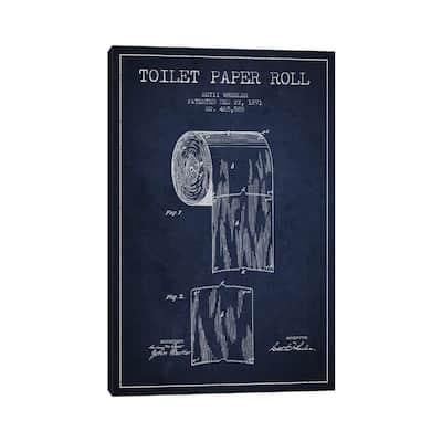 "iCanvas ""Toilet Paper Navy Blue Patent Blueprint"" by Aged Pixel Canvas Print"