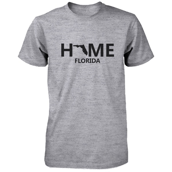 Home FL State Grey Men's T-Shirt US Florida Hometown Cotton Tee