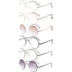 Eyekepper 6-Pack Spring Hinges Round Reading Glasses Sunreaders +1.75