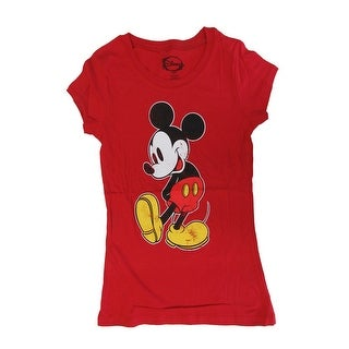 Disney Womens Red Mickey Mouse Graphic Print Short Sleeve T-Shirt