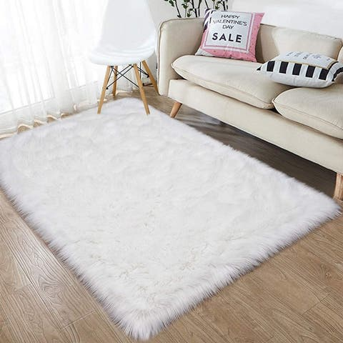 Soft Fluffy Bedroom Rugs 3 x 5 Feet Indoor Wool Sheepskin Area Rug for Girls Baby Room Chair Sofa Floor Carpet, Black