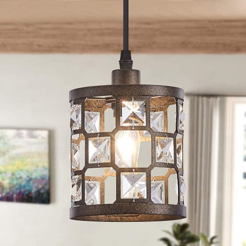 Rustic pendent lights in kitchen Industrial Crystal