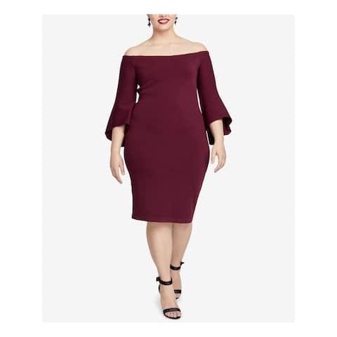 RACHEL ROY Burgundy Bell Sleeve Knee Length Sheath Dress Size 1X